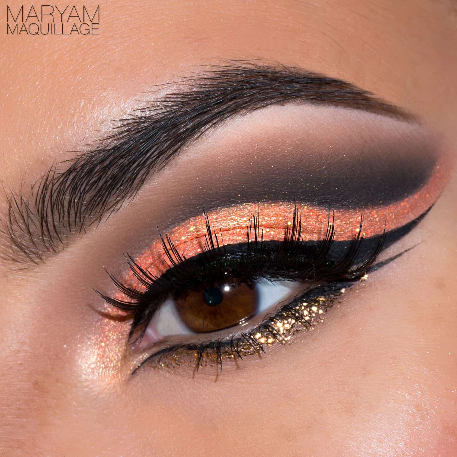 Maryam Maquillage Orange and Black Halloween Eye Makeup