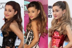 Ariana Grande with a half-up, half-down high ponytail, one of the hottest hair trends of 2015.