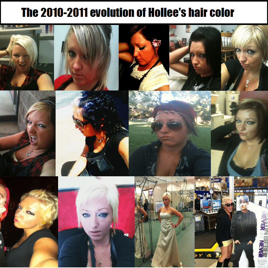 The 2010-2011 Evolution of Hollee's Hair Color. Learn how to grow your hair faster, even if it is this damaged...