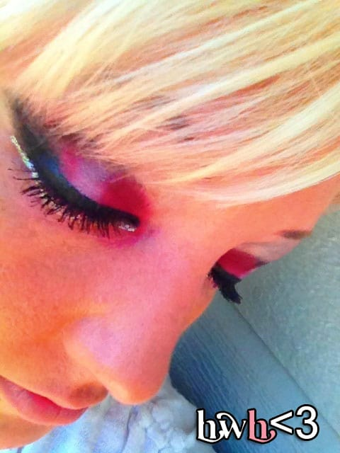 Red hot eye makeup, courtesy of Mac eyeshadow (post haste and black tied).