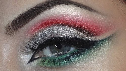 Do you love both makeup and Christmas?  Then, you are sure to love this beautiful red, green and silver Christmas eye makeup...